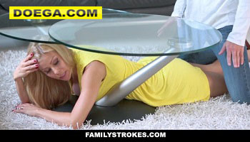 Hot MILF Stepmom Stuck and Fucked under Table by Stepson