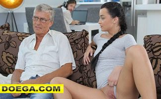 Old Guy still in Great Shape to Fuck Sons Girlfriend on Sofa