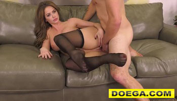 Busty MILF Brunette Rides and Deepthroats Hard Dick in a Live Show